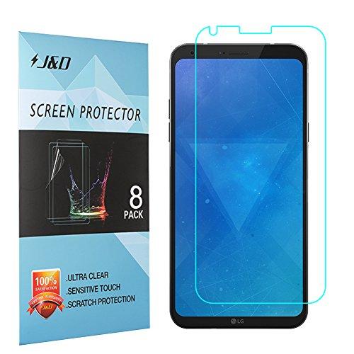 J&D Compatible para 8 Paquetes LG Q6 Protector de Pantalla, [NO Cobertura Completa] Prima Escudo de Película Transparente HD Protector de Pantalla para LG Q6
