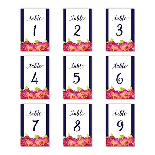 """Navy Border Floral Table Numbers 25 Pack Single Sided 4"""" x 6"""" Reserved Seating All Occasion Centerpiece Milestone Birthday Wedding Reception Anniversary Retirement Lunch Dinner Event DB Party Studio"""