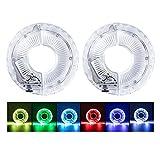 Coriver Paquete de 2 luces LED para rueda de bicicleta, impermeables, luces de radios de bicicleta recargables por USB,7 colores 18 imágenes, luz cambiante para el eje de la rueda para montar de noche