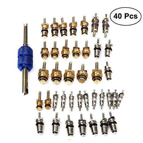 WINOMO 40pcs Klimaanlage Ventil Core A / C R12 R134a Reifenventil Stem Cores Remover Werkzeug für Auto Home Office