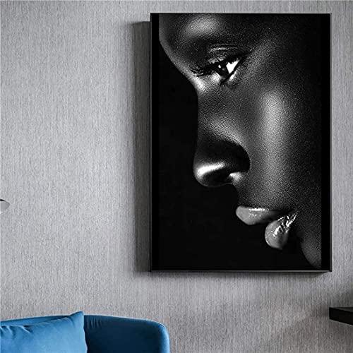 Abaabul Ölgemälde mit schwarzem Profil, Motiv: Lippe, Frau, auf Leinwand, Poster und Drucke, afrikanische Wandkunst,...