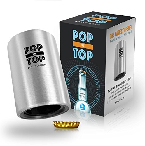 PoptheTop Automatic Beer Bottle Opener : (Stainless) - Great gift - Bottle cap collector best find!...
