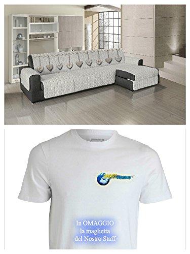 Offre PROTEGE CANAPE' COUVERTURE POUR CANAPE' beige - Love Amour - Mesure cm. 240 - 245 (de accoudoir à accoudoir) - applicable à la fois droite qu'à gauche - T-Shirt gratuit