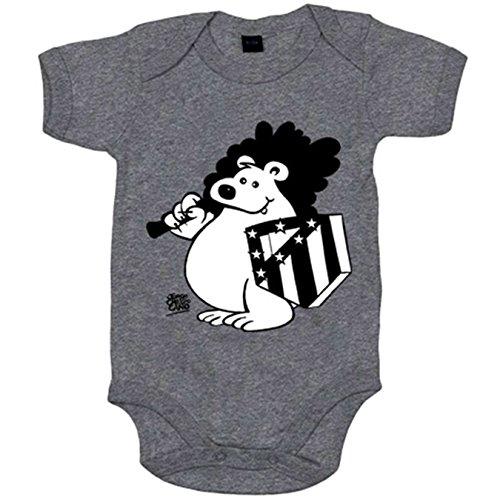 Body bebé Atlético de Madrid oso y escudo blanco y negro - Celeste, 6-12 meses