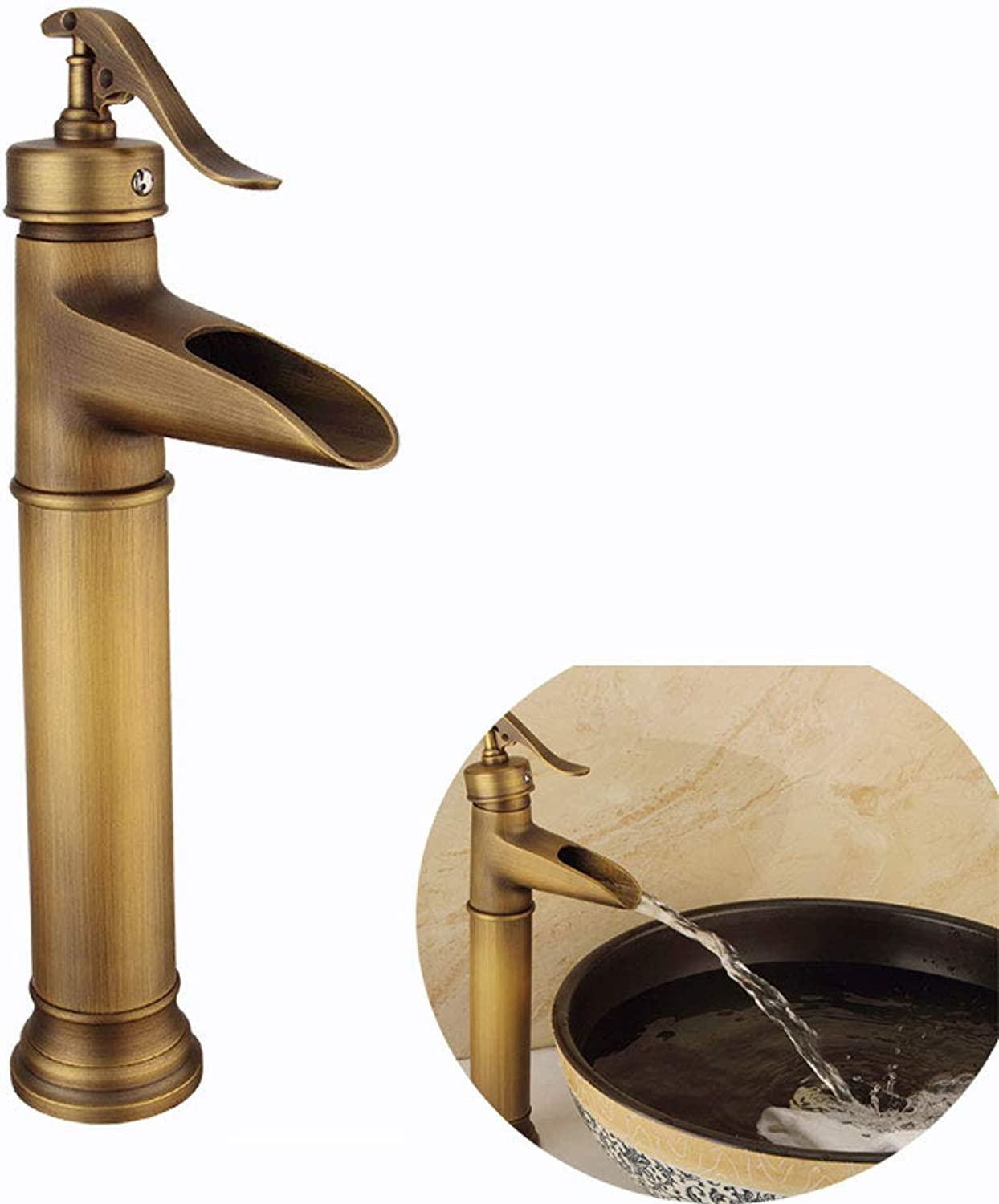 Sanqing Faucet, One-handed Solid Copper Kitchen Bathroom Black Faucet European Retro Hot And Cold Water Mixer,gold,High