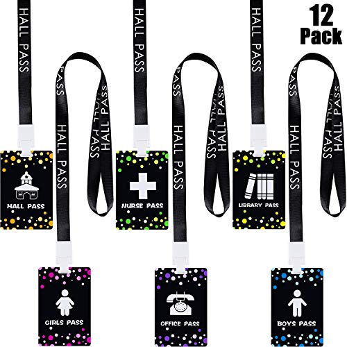 12 Pieces School Supplies Lanyards Hall Pass Lanyards School Passes Set Unbreakable School Passes for Teachers Students, Hall Bathroom Library Office Nurse