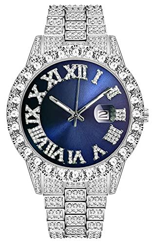 Hip-hop gran dial conjunto con diamantes de imitación reloj de cuarzo diseño único moda estilo relojes para hombres y mujeres, Sliver-3, Talla única