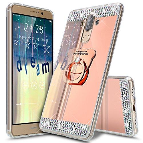 Kompatibel mit Huawei Mate 9 Hülle,Huawei Mate 9 Schutzhülle,[Bär Ständer] Glänzend Glitzer Strass Diamant Überzug Spiegel TPU Silikon Hülle Tasche Handyhülle Schutzhülle für Huawei Mate 9,Rose Gold