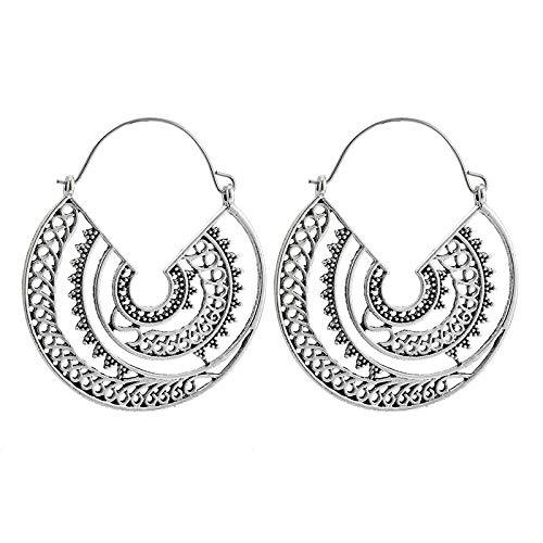FEARRIN Pendientes Vintage Bohemain Bohemio Vintage Hueco geométrico Pendientes Colgantes Espiral Pendientes de Gota para Mujer Talla de joyería Plata