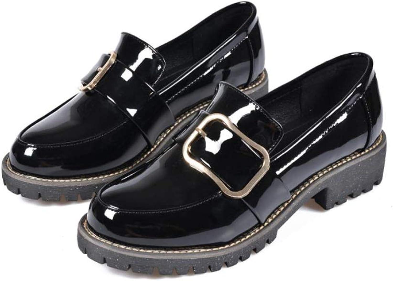 YUBUKE Womens Leather Closed Toe Mules Martin Boots Leather Flat shoes