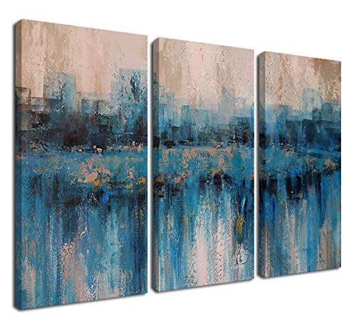 "Canvas Wall Art Prints Abstract Textured Cityscape Painting Artwork Grey Blue Tones 3 Panels/Set Large Size Framed Pictures Ready to Hang for Living Room Bedroom Office Kitchen Decorations 16""x32""x3"