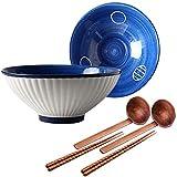2 Juegos de tazones de Sopa de Ramen tazones de Fideos Grandes japoneses con cucharas y Palillos Apto para microondas lavavajillas para Udon Pasta pho soba Cereales y Ensalada