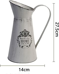VANCORE Vintage Shabby Chic Vase Metal Pitcher Flower Vase