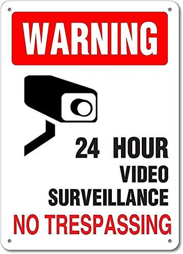 None Brand 24 Hour Video Surveillance ¨ Blechschild Retro Metall Poster Vintage Kunst Schild Schilder Hof Garten Tür Cafe Pub Toilette Geburtstag Weihnachten Geschenk