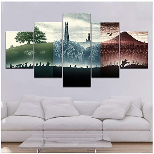 De Heer van de Ringen: De Fellowship van de Ring 5 stks Canvas Print Schilderij Foto Home Decor Poster Muur Artwork -40x60 40x80 40x100cm Geen Frame