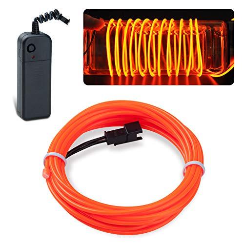 EL Wire Lychee Neon Leuchtendes Stroboskoplicht, Elektrolumineszenz-Licht EL Draht mit Akku Pack für Partys, Halloween-Dekoration (Orange, 2,7 m)