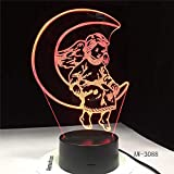 Neon Lights Bar Cute Angle Moon 3D LED Night Light 16 Cambios de Color 3D LED Lights Regalo de cumpleaños Navidad