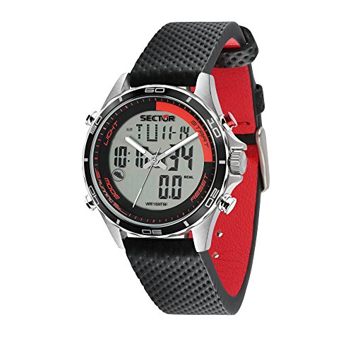 SECTOR NO LIMITS Herren Analog-Digital Quarz Uhr mit Leder Armband R3271615001
