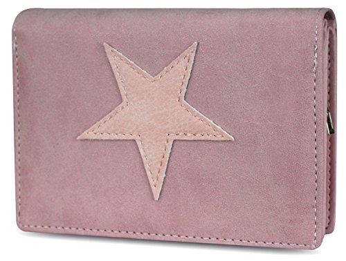 PiriModa Damen Luxus Stern Geldbörse Geldbeutel Brieftasche Portemonnaie Damenbörse Börse Rosa