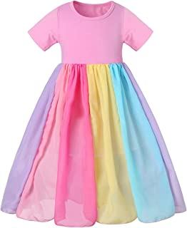 Kantenia Toddler Kids Baby Girl Rainbow Dress Princess Halter Beach Tutu Sundress