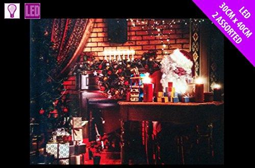 Prachtige Kerstman & Kerstboom LED Canvas Kerstman schrijven ansichtkaarten door bureau muur opknoping foto