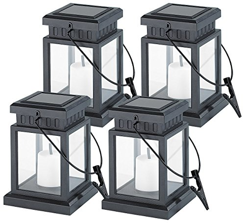 Lunartec Solar Grableuchte: 4er-Set Solar-LED-Laternen in asiatischem Design, zum Aufhängen, Akku (Solar Laterne Garten zum Hängen)