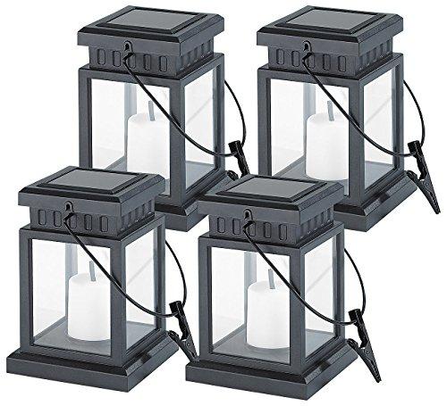 Lunartec Solar Grablicht: 4er-Set Solar-LED-Laternen in asiatischem Design, zum Aufhängen, Akku (Solar Laterne Garten zum Hängen)