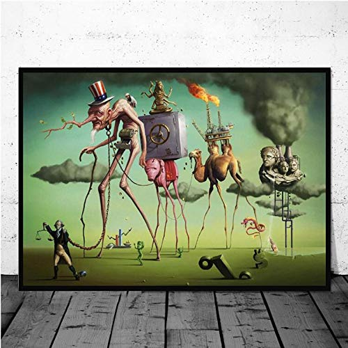 Lienzos surrealistas de Salvador Dalí con Estampados Abstractos Famosos, Carteles de Lienzo para la decoración de la Sala de Estar 50x70cm (19,68x27,55 in) Q-1018