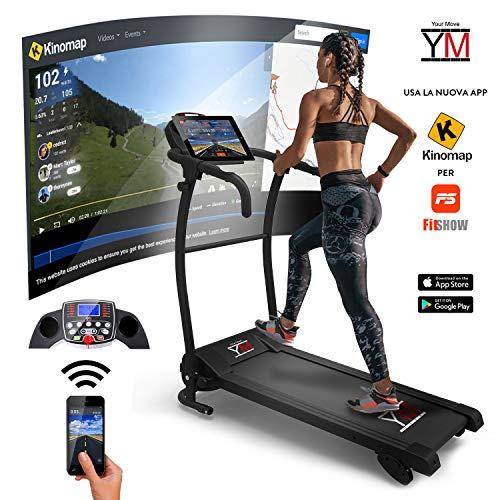 YM Tapis ROULANT Elettrico Pieghevole Bluetooth 1500 W App KINOMAP SENSORE Cardiaco Cardio 1500 W / (2,5 HP Picco) Tappeto: 125 x 36 cm