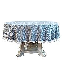 テーブルクロス、耐熱 汚れ防止 タッセルエッジ 丸い大きなテーブルクロス、耐用綿麻材質食卓カバー通気性、洗える 、ソリッドカラ/染めた生地 テーブルクロス 2つのスタイル、円形および長方形の テーブルユニバーサル 、サイズ カスタマイズ可能