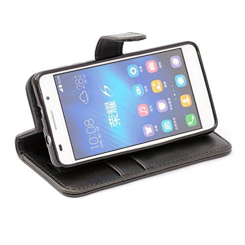 Mulbess Handyhülle für Honor 6 Hülle, Leder Flip Case Schutzhülle für Huawei Honor 6 Tasche, Schwarz - 5