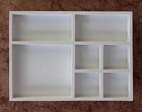 DanDiBo Sortierkasten Setzkasten 12291 Weiß 32 cm aus Holz Sammlervitrine Sortierschublade