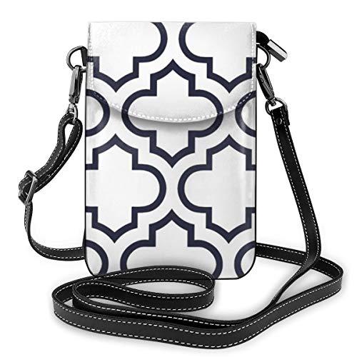 Multi-functionele lederen telefoontas, lichtgewicht kleine schouder Crossbody tas reistas met verstelbare riem voor vrouwen - Marokkaanse trellis patroon in marineblauw