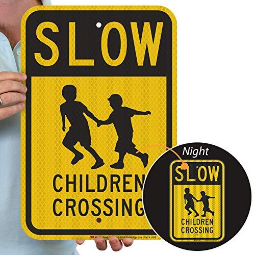 "SmartSign - K-5198-HI-12x18 ""Slow - Children Crossing"" Sign   12"" x 18"" 3M High Intensity Grade Reflective Aluminum Black on Yellow"