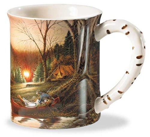 Morning Solitude Camping Sculpted Mug by Terry Redlin