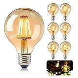 KIPIDA - Juego de bombillas Edison Vintage G80 LED E27 4 W blanco cálido antiguo filamento LED Bombilla decorativa lámpara ideal para iluminación retro casa café bar (6 unidades)