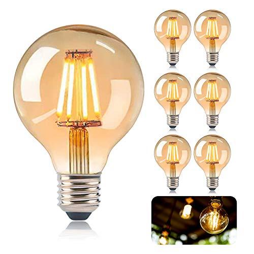 KIPIDA E27 LED Lampe, Edison Vintage Glühbirne G80 LED Lampe Antike Leuchtmittel Globe Birne 4W Warmweiss Dekorative Antike LED Glühlampe Ideal für Nostalgie und Retro Beleuchtung Dekoration-6 Pack