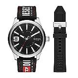 Diesel Men's 53mm Rasp Quartz Stainless Steel and Nylon/Silicone Watch, Color: Silver, Black Logo (Model: DZ1906)