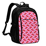 asfg Resistente a Las Manchas CherryBombPatternComforters Multifunctional Personalized Customized USB Backpack, Student School Outdoor Backpack,Travel Bag Laptop Bookbags Business Daypack.