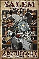 セーラムポーションポーション猫ハロウィンブリキサイン魔女飲んでミラー蜂 オフィスショップショールームクッキングショップキッチントイレリビングルームベッドルームガソリンスタンドバー、パブ、ガレージ、コーヒーショップ、室内装飾12x8インチ
