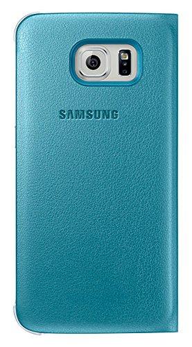 Samsung Leather-Effect Flip Folio Wallet Schutzhülle Case Cover in Kunstleder mit Kreditkartenfach für Galaxy S6, blau