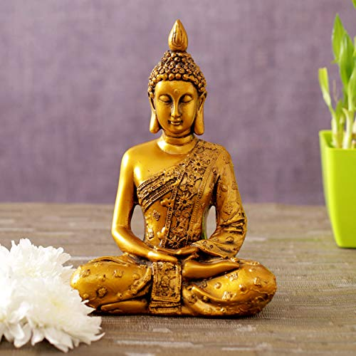 TIED RIBBONS Buddha Statue for Home Décor- Buddha Sitting Meditation Statue Sculpture Home Decoration Ornament Garden Resin Figurine
