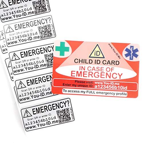 Verloren kind veiligheid ID-kaart & Sticker Tags Set Ontbrekende Kids ongeval noodidentiteit. Vakantie reizen. Snelle ouder contact info ANY telefoon. In staat om ouders te waarschuwen telefoon* Waterdicht