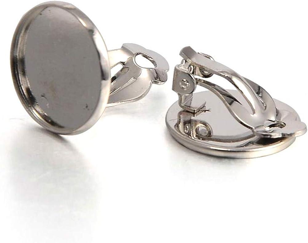 Kissitty 20pcs 16mm Blank Earring Tray Platinum Brass Clip on Earrings Converter for Non Pierced Ears