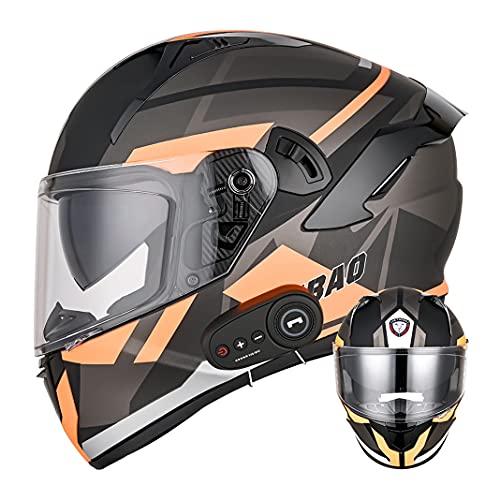 D.O.T Casco integral de motocicleta Bluetooth para adultos con Doble lente antivaho Cascos abatibles de moto Negro mate para scooter Cruiser Chopper (Naranja tormenta) (61~62cm XL)