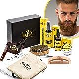 Lejsa - Kit para la barba 9 en 1 para hombre completo profesional – Ingredientes 100% naturales – Contiene champú acondicionador aceite peine tijeras cepillo forma afeitado delantal y bolsa de viaje