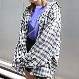 EMODA エモダ スウィッチングボーイズシャツ (8月下旬入荷予約) 042040450401 レディース 2020秋 TOPS チェック柄 オーバーサイズ BLACK(ブラック) FREEサイズ