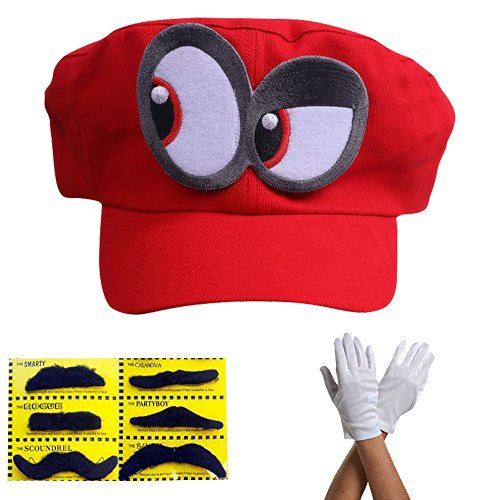 Super Mario Gorra Odyssey - Conjunto de 1x Guantes y 6X Barba pegajosa Costume para Adultos y niños Carnaval y el Cosplay - Ojos a la Izquierda