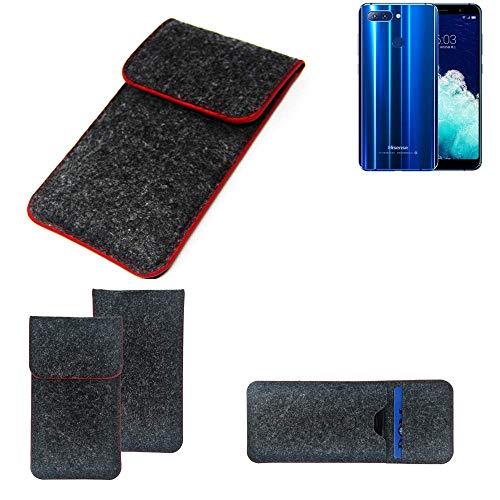K-S-Trade Handy Schutz Hülle Für Hisense Infinity H11 Pro Schutzhülle Handyhülle Filztasche Pouch Tasche Hülle Sleeve Filzhülle Dunkelgrau Roter Rand