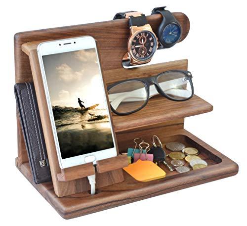Schlüsselanhänger aus natürlichem Walnussholz für Mobiltelefon Halterung für Uhren Organizer für Männer Ehemann Ehefrau Jahrestag Vater Geburtstag Nachttisch Geldbörse